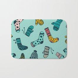 Socks and Mittens Pattern Bath Mat