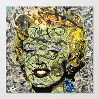 marylin monroe Canvas Prints featuring MARYLIN MONROE POLLOCK by JANUARY FROST