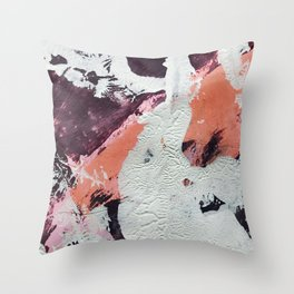 Taboo: a vibrant, abstract, mixed-media piece in purple, orange, and light blue Throw Pillow