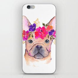 Frenchie Floral watercolor iPhone Skin