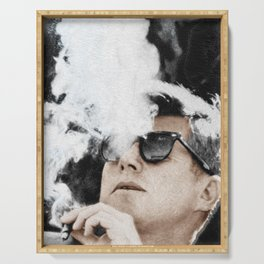JFK Cigar and Sunglasses Cool President Photo Photo paper poster Color Serving Tray