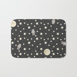Space - Stars Moon and Astronauts on black Bath Mat