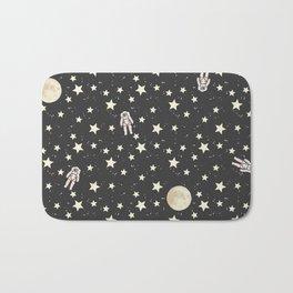 Space - Stars Moon and Astronauts on black Bath Mat