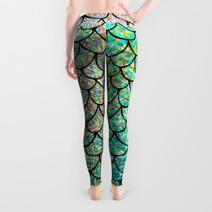 Colorful Glitter Mermaid Scales II Leggings