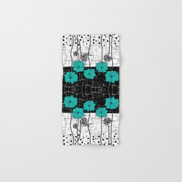 Turquoise flowers on black and white background . Hand & Bath Towel