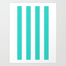 Vertical Stripes - White and Turquoise Art Print