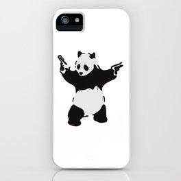Banksy Pandamonium Armed Panda Artwork, Pandemonium Street Art, Design For Posters, Prints, Tshirts iPhone Case