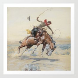 C.M. Russell The Bucker Vintage Western Art Art Print
