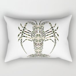Tribal Camouflage Spiny Lobster on White Rectangular Pillow