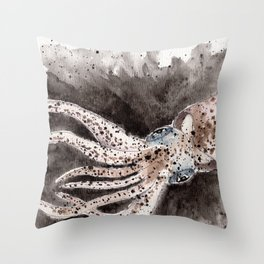 Squid ink and tentacles Throw Pillow