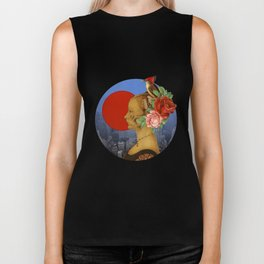 woman with birds and flowers hat Biker Tank