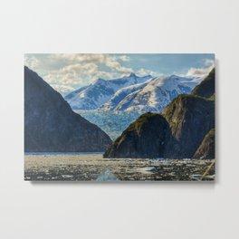 Sea Glaicer Mountains Metal Print