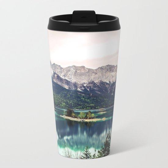 Green Blue Lake and Mountains - Eibsee, Germany Metal Travel Mug