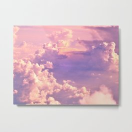 Whimsical Unicorn Lavender Clouds Metal Print