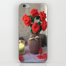 Hand knitted Roses and Vase iPhone Skin