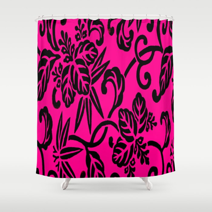 Hot Pink Black Japanese Leaf Pattern Shower Curtain