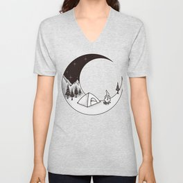 Camping Night | Outdoor Nature Starry Sky Unisex V-Neck