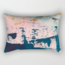 Candyland: a vibrant, colorful abstract piece in blue teal pink and gold by Alyssa Hamilton Art Rectangular Pillow