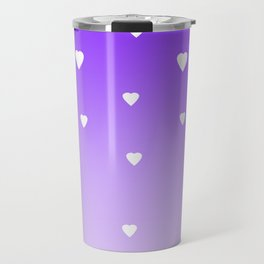 Purple Ombre with White Hearts Travel Mug
