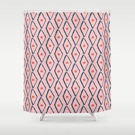 Pink Navy Diamond pattern Shower Curtain