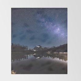 Summer Stars - Galaxy Mountain Reflection - Nature Photography Throw Blanket