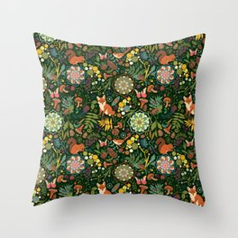 Treasures of the emerald woods Throw Pillow