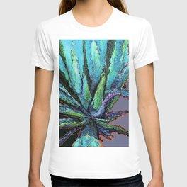 BLUE DESERT AGAVE CACTI PASTEL ART T-shirt