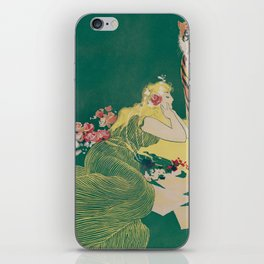 Fantasy Art Deco Woman With Pet Tiger Self culture (edited) - The Werner Company - 1890-1900 iPhone Skin