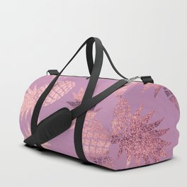 Pretty Pink & Rose Gold Pineapple Pattern Duffle Bag