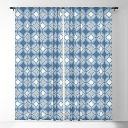 Mid Century Modern Geometric Lattice Circles Pattern in Blue and Pale Gray Blackout Curtain