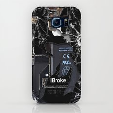 Broken, rupture, damaged, cracked black apple iPhone 4 5 5s 5c, ipad, pillow case and tshirt Slim Case Galaxy S6