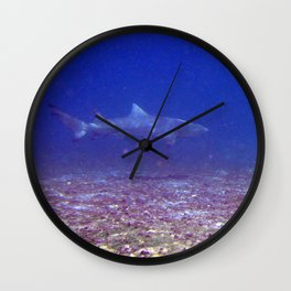 Watercolor Shark, Lemon Shark 01, St John, USVI, Come a Little Closer! Wall Clock