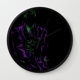 Purple and Green: Joker Mean Wall Clock