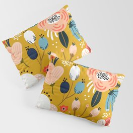 Mid-Century Modern Floral Print on Mellow-Yellow Pillow Sham