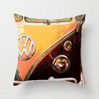 volkswagon Throw Pillows featuring Volkswagon Van by Alexandra Kube