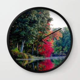 First reds of autumn Wall Clock