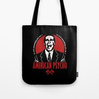 american psycho Tote Bags featuring American Psycho by Buby87