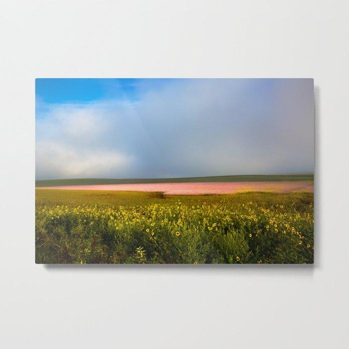 Land of Plenty- Field of Pink and Yellow Flowers in Nebraska Metal Print