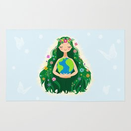 Beautiful Flowing Flower Earth Mother Figure Rug