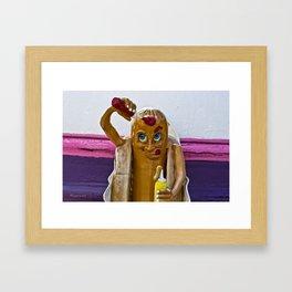 Hot Dog Dressing Up Framed Art Print