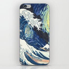 Starry Night Over The Great Wave Off Kanagawa Van Gogh/Hokusai iPhone Skin