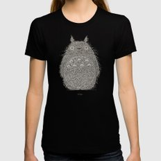 Cream Totoro LARGE Womens Fitted Tee Black