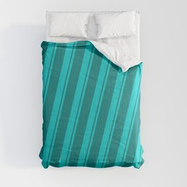 Dark Turquoise & Teal Colored Striped/Lined Pattern Comforters