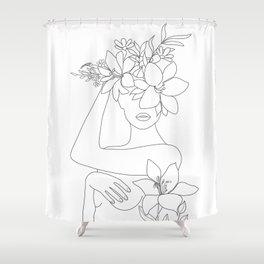 Minimal Line Art Woman with Flowers VI Shower Curtain