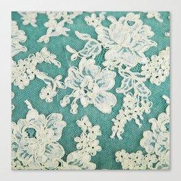 white lace - photo of vintage white lace Canvas Print
