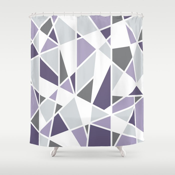Geometric Pattern In Purple And Gray Shower Curtain By