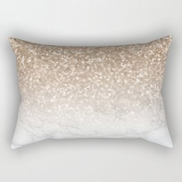 Sparkle - Gold Glitter and Marble Rectangular Pillow