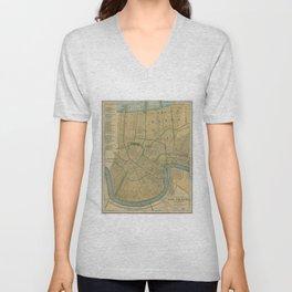 Vintage Map of New Orleans Louisiana (1893) Unisex V-Neck