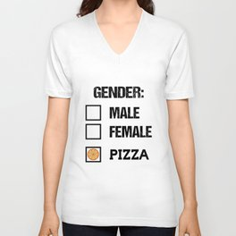 Gender Male Female Pizza Funny Food T-Shirt Unisex V-Neck
