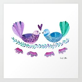 Birds in love with flowers and leaves Art Print